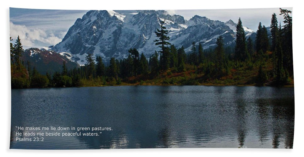 Scripture Cards Beach Towel featuring the photograph From The Hills by Rod Wiens