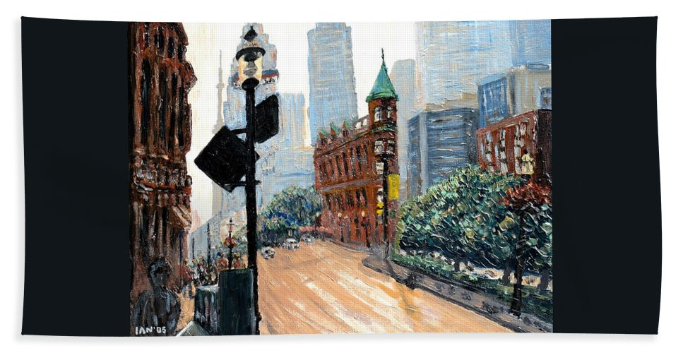 Toronto Beach Towel featuring the painting Front And Church by Ian MacDonald