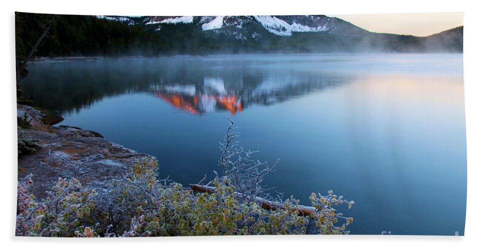 Paulina Peak Beach Towel featuring the photograph Frost At Paulina Lake by Adam Jewell
