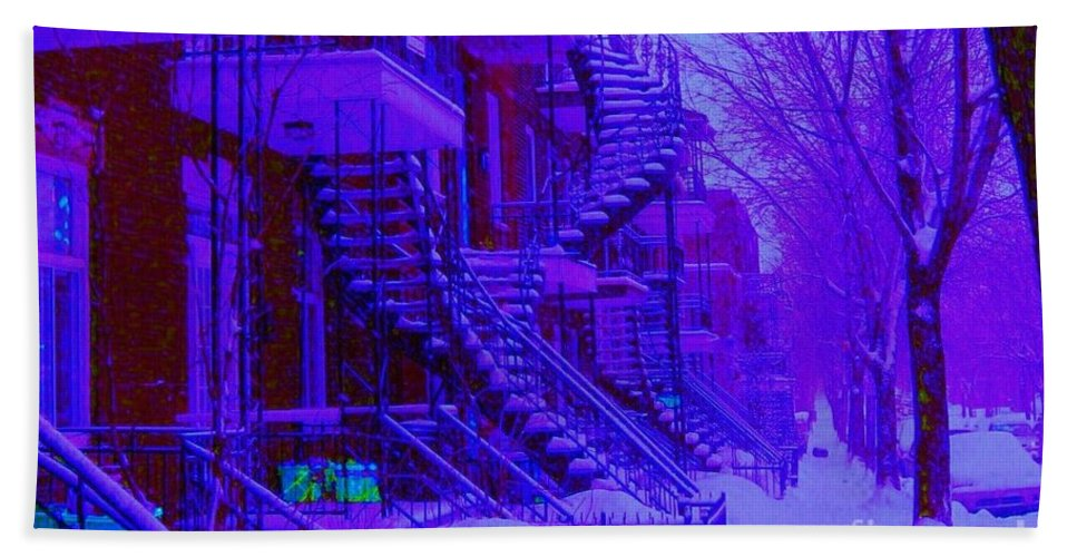 Montreal Beach Towel featuring the photograph Frost On Winding Staircases by Carole Spandau