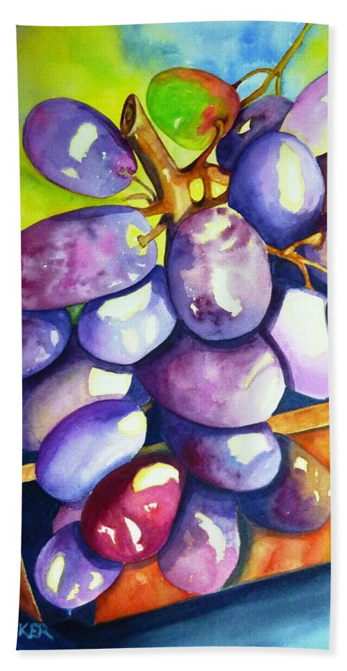 Rainbow Grapes Beach Towel featuring the painting Purple Grapes by Jane Ricker