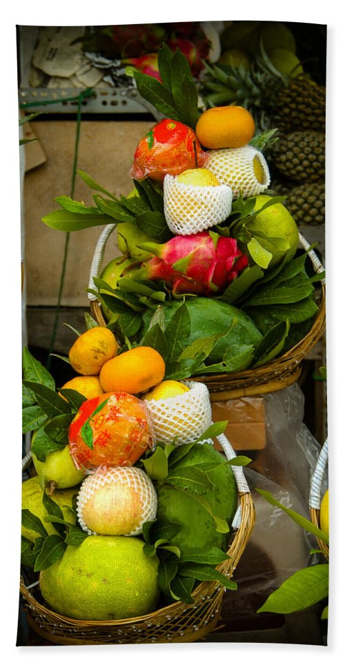 Arrangements Beach Towel featuring the photograph Fruit Stall In Vietnamese Market by Mark Llewellyn