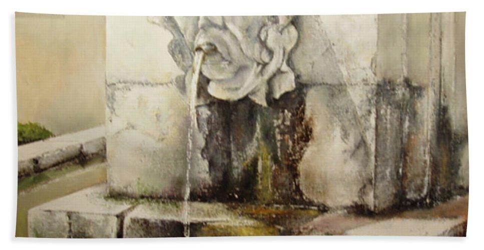 Fuente De San Isidoro- Leon Beach Towel featuring the painting Fuente de San Isidoro by Tomas Castano