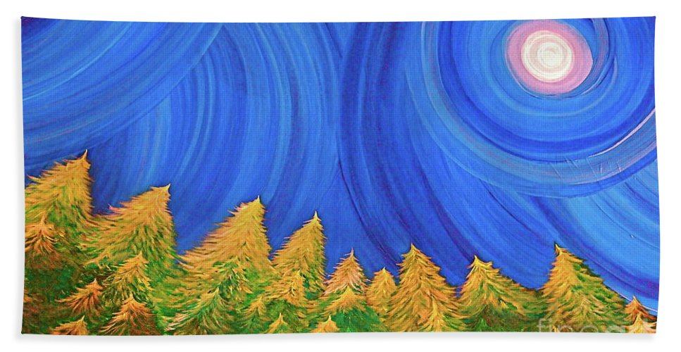 Full Moon Beach Towel featuring the painting Full Moon Forest By Jrr by First Star Art
