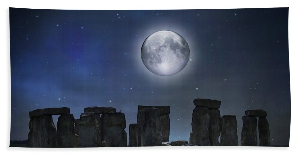 Bluestone Beach Towel featuring the photograph Full Moon Over Stonehenge by Juli Scalzi