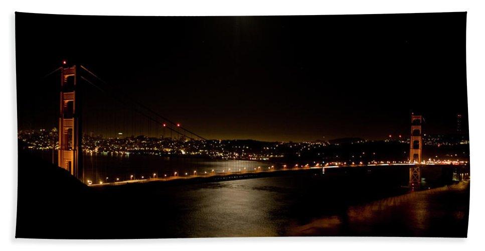 Golden Gate Bridge Beach Towel featuring the photograph Full Moon Rising by Bill Gallagher