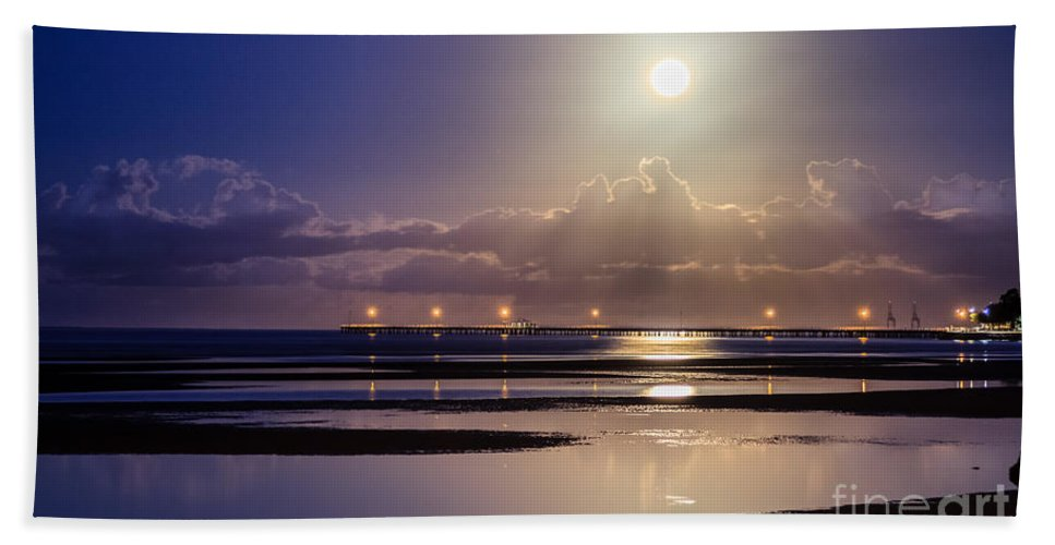 Nature Beach Towel featuring the photograph Full Moon Rising Over Sandgate Pier by Silken Photography
