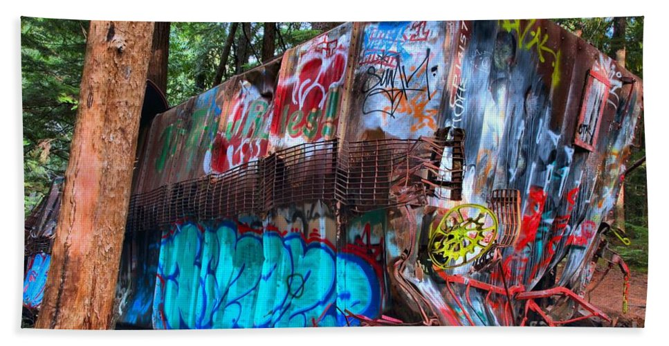 Train Wreck Beach Towel featuring the photograph Function Junction Train Wreckage by Adam Jewell