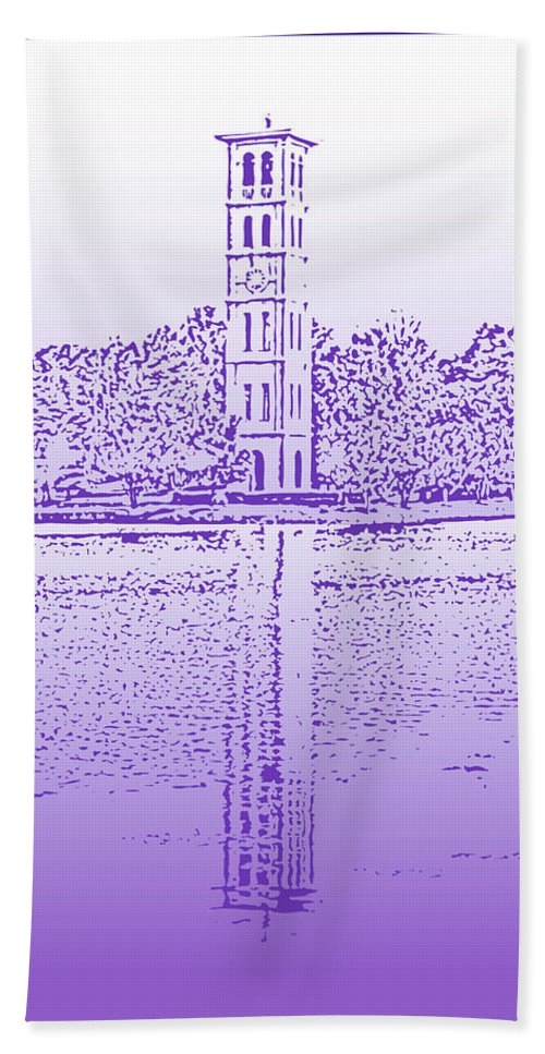 Furman University Beach Towel featuring the digital art Furman Bell Tower by Greg Joens