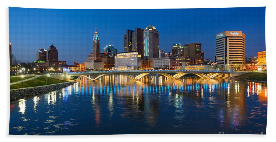 Columbus Beach Towel featuring the photograph Fx2l472 Columbus Ohio Night Skyline Photo by Ohio Stock Photography