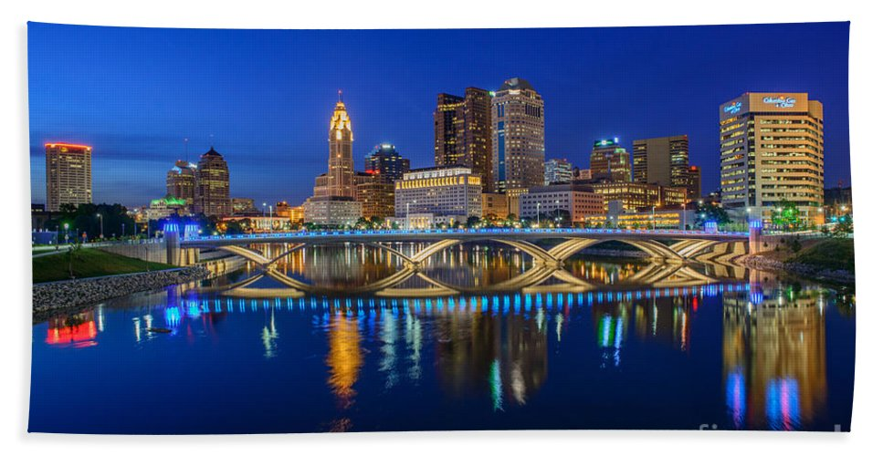 Columbus Beach Towel featuring the photograph Fx2l530 Columbus Ohio Night Skyline Photo by Ohio Stock Photography