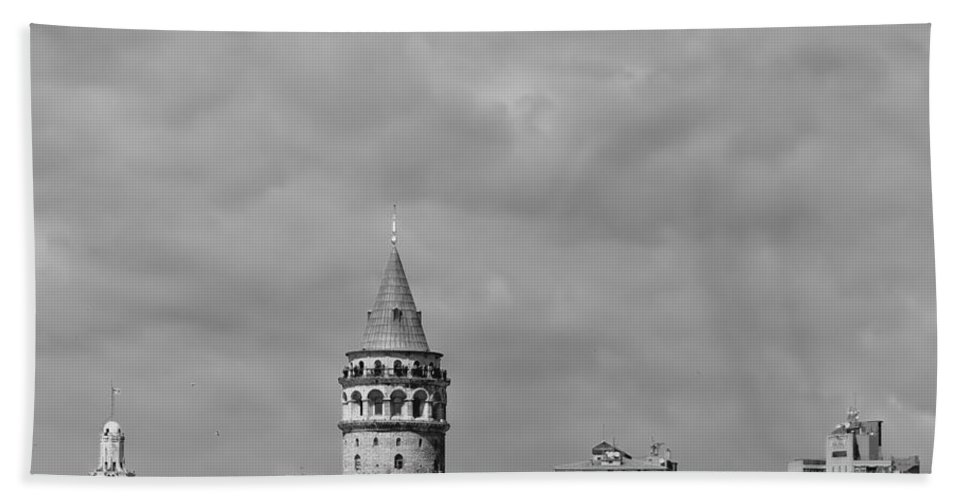 Galata Beach Towel featuring the photograph Galata Tower Mono by Antony McAulay