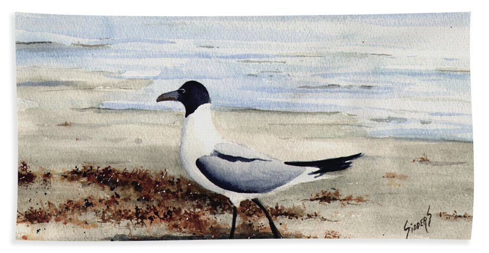 Gull Beach Towel featuring the painting Galveston Gull by Sam Sidders