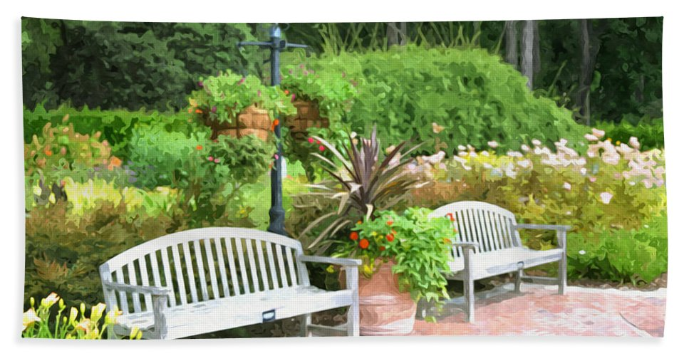 Bench And Containers Beach Towel featuring the painting Garden Benches 7 by Jeelan Clark