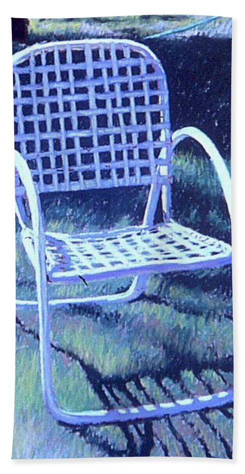 Pastel Beach Towel featuring the painting Garden Chair by Mary McInnis