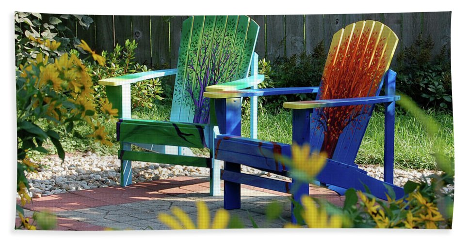 First Star Beach Towel featuring the painting Garden Chairs by First Star Art