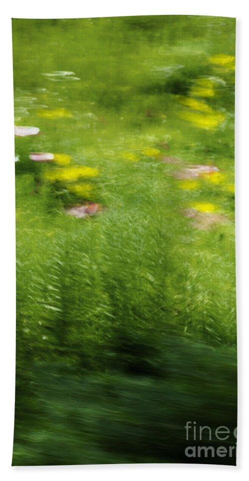 Abstract; Blur; Blurry; Blurred; Garden; Green; Yellow; Pink; Flowers; Grasses; Nature; Lovely; Beautiful; Summer; Serene; Rural; Flower Garden; Floral; Botanic Beach Towel featuring the photograph Garden Impressions by Margie Hurwich