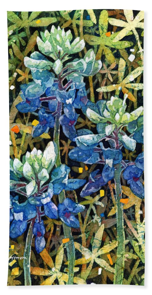 Bluebonnet Beach Towel featuring the painting Garden Jewels II by Hailey E Herrera