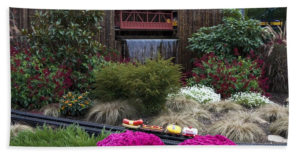 Outdoor Miniature Train Display Beach Towel featuring the photograph Garden Miniature Train by Sally Weigand