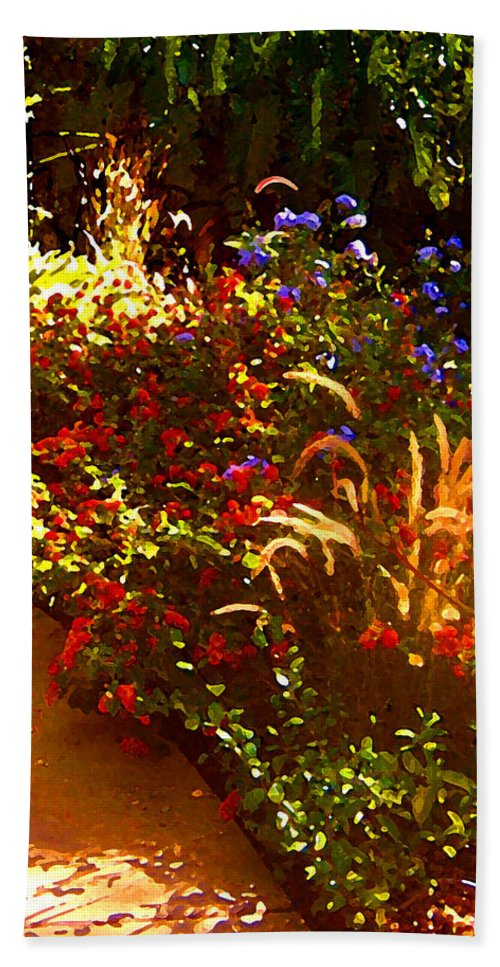 Beach Towel featuring the painting Garden Pathway by Amy Vangsgard