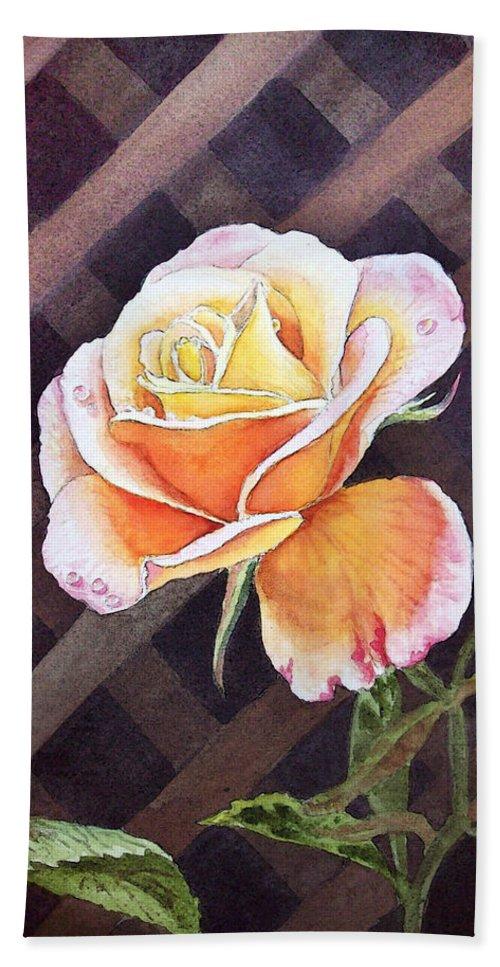 Rose Beach Towel featuring the painting Garden Tea Rose by Irina Sztukowski