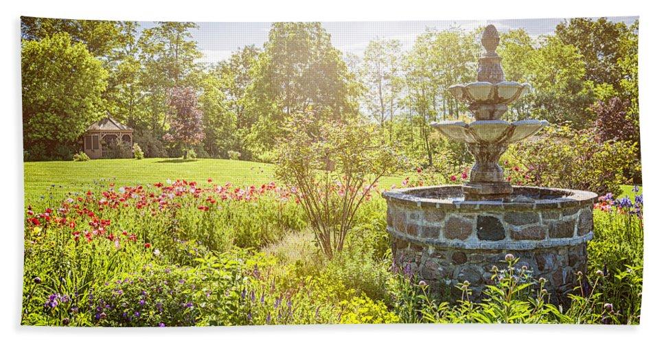 Garden Beach Sheet featuring the photograph Garden With Stone Fountain by Elena Elisseeva