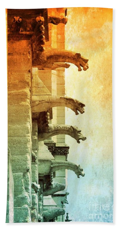 Gargoyles Beach Towel featuring the photograph Gargoyles With Textures And Color by Carol Groenen