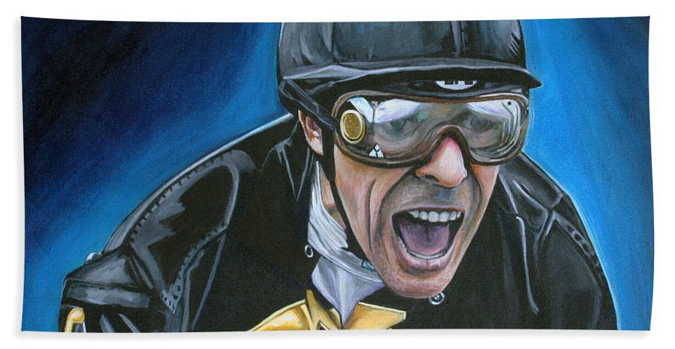 Jockey Beach Sheet featuring the painting Gary Stevens by Kate Fortin
