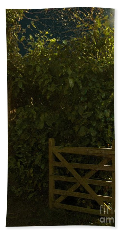 Forest Beach Towel featuring the painting Gate To Nowhere by RC DeWinter