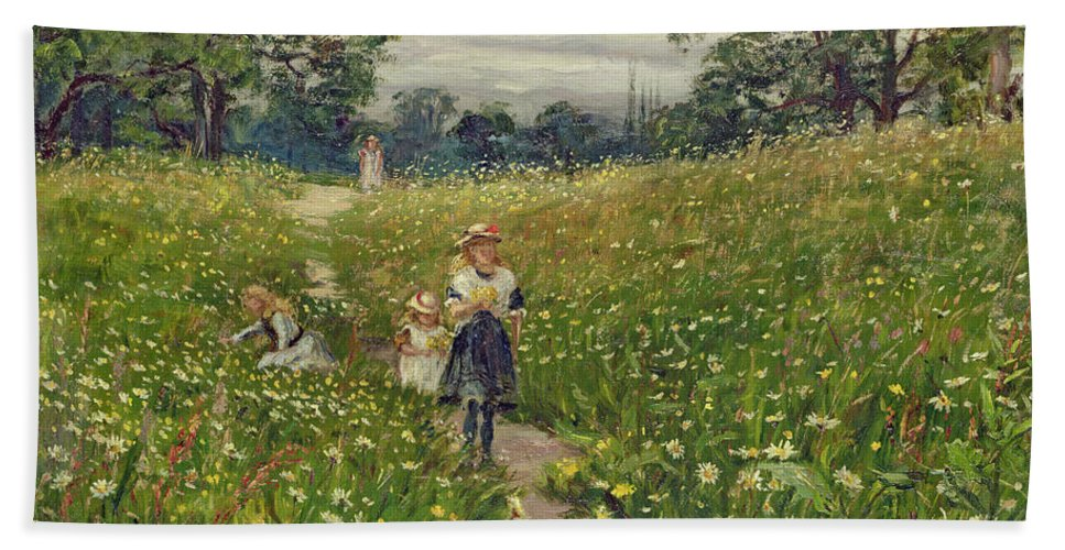 Garden Beach Towel featuring the painting Gathering Wild Flowers by Philip Richard Morris