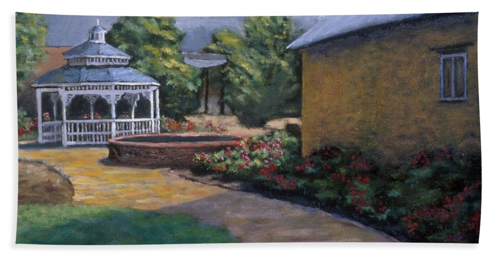 Potter Beach Towel featuring the painting Gazebo In Potter Nebraska by Jerry McElroy