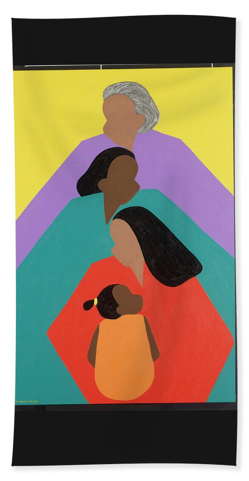Commissioned Original Oil & Acrylic Beach Towel featuring the painting Generations by Synthia SAINT JAMES