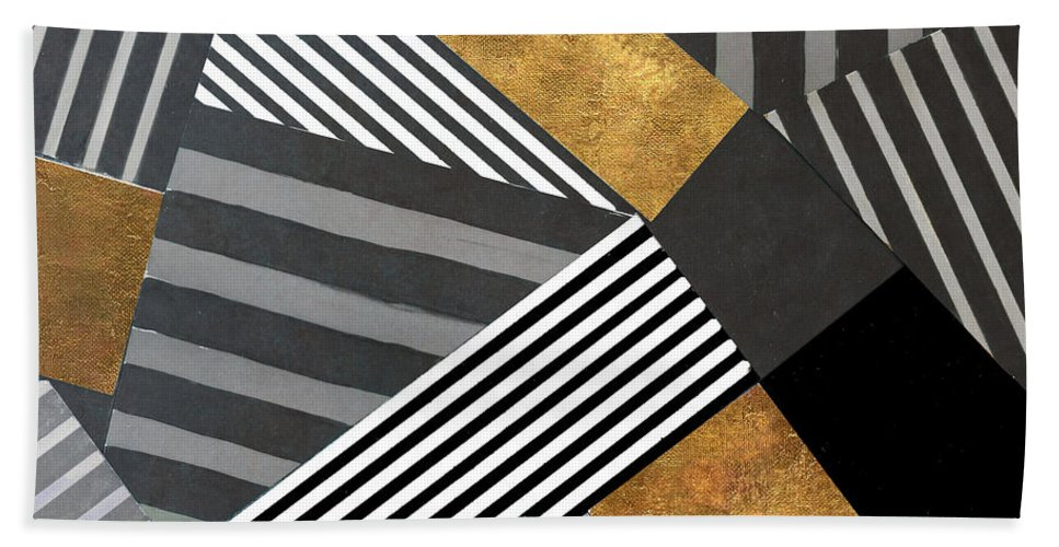 Geo Beach Towel featuring the painting Geo Stripes In Gold And Black II by Lanie Loreth