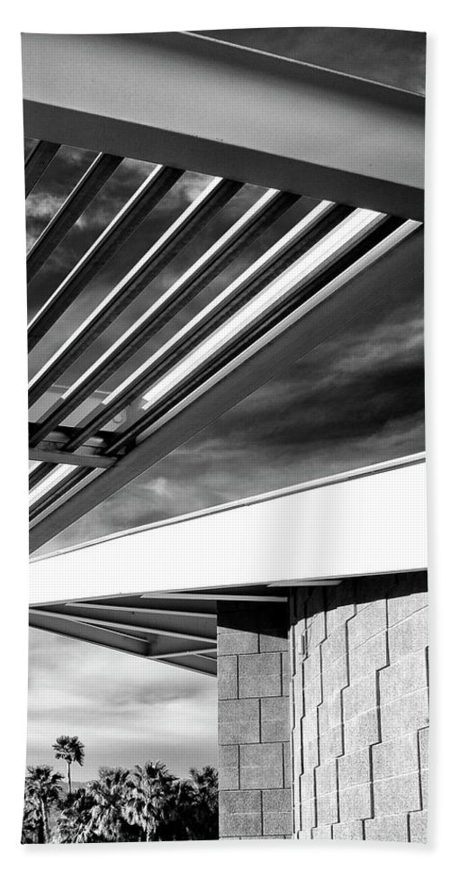 Featured Beach Towel featuring the photograph Geometry Lesson Palm Springs Tram Station by William Dey