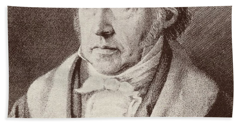 Male; Portrait; Intellectual; Half Length Beach Towel featuring the drawing Georg Hegel by Anonymous