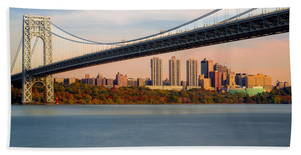 George Washington Bridge Beach Towel featuring the photograph George Washington Bridge In Autumn by Susan Candelario