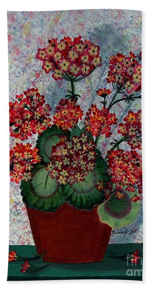 Barbara Griffin Beach Towel featuring the painting Geraniums In A Copper Pot by Barbara Griffin