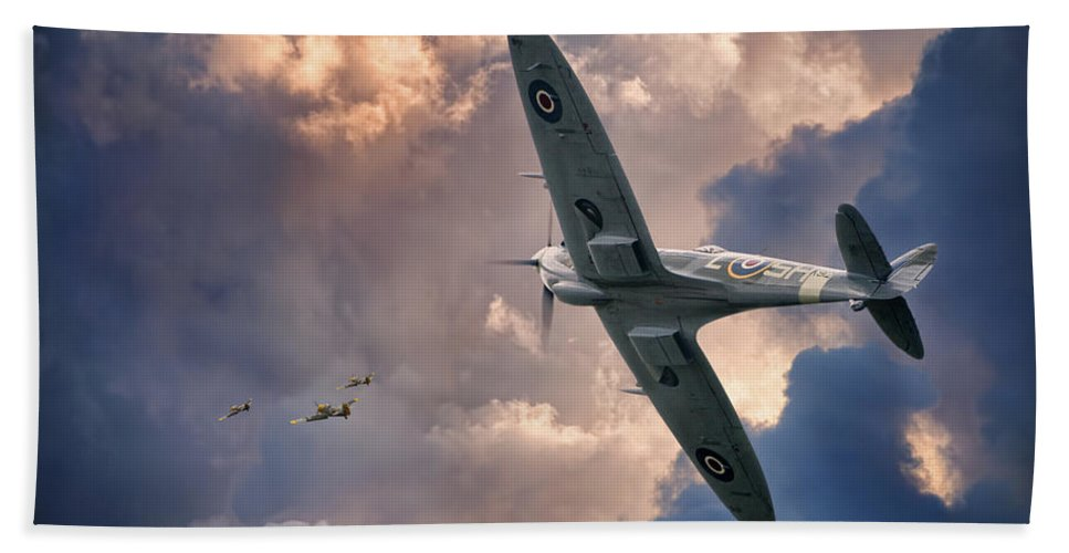 Aviation Aircraft Flight Flying Military War Wwii Drama Skies Clouds Spitfire Fighting Fighter Royal Air Force Canadian Classic Beauty Beach Towel featuring the photograph Getting The Jump by Jeff Stephenson