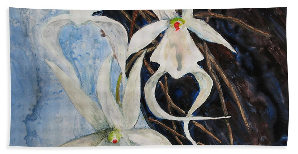 Ghost Orchid Beach Towel featuring the painting Ghost Orchid Blooming by Patricia Beebe