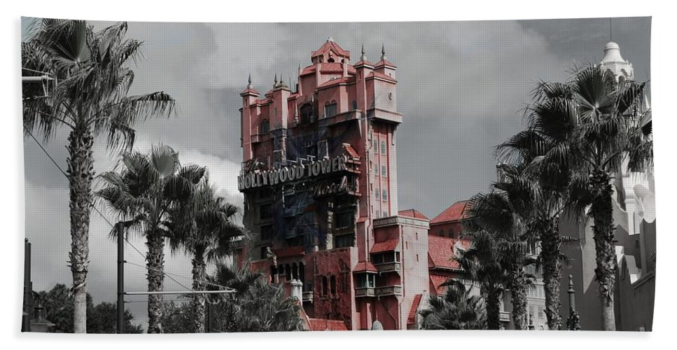 Ghost Beach Towel featuring the mixed media Ghostly At The Tower by Eric Liller