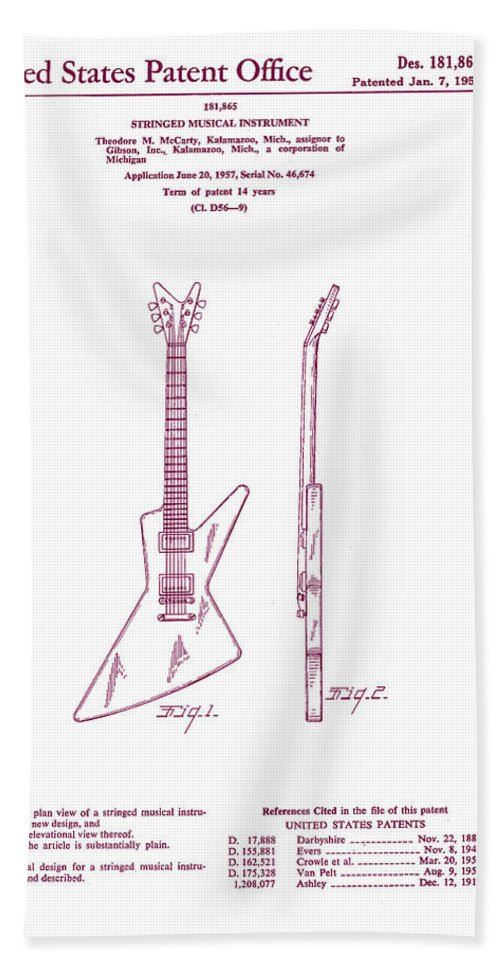 Music Beach Towel featuring the digital art Gibson Explorer Guitar Patent by Georgia Fowler