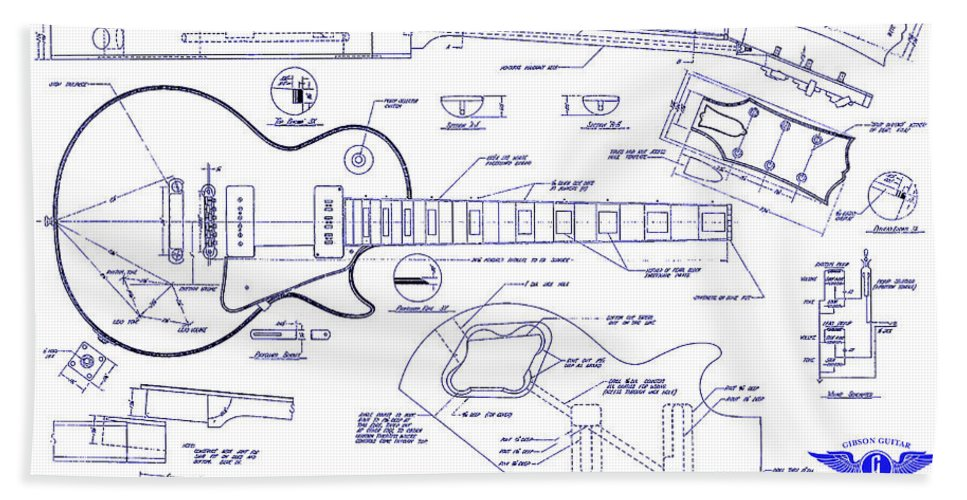 Gibson les paul blueprint drawing beach sheet for sale by jon neidert les paul blueprint beach sheet featuring the drawing gibson les paul blueprint drawing by jon neidert malvernweather Gallery