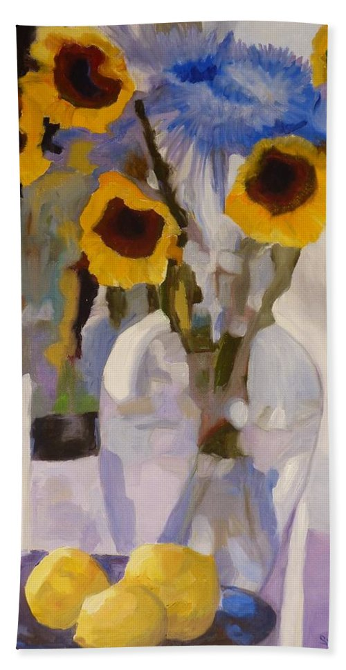 Still-life Beach Towel featuring the painting Gifts Of The Sun by Susan Duda