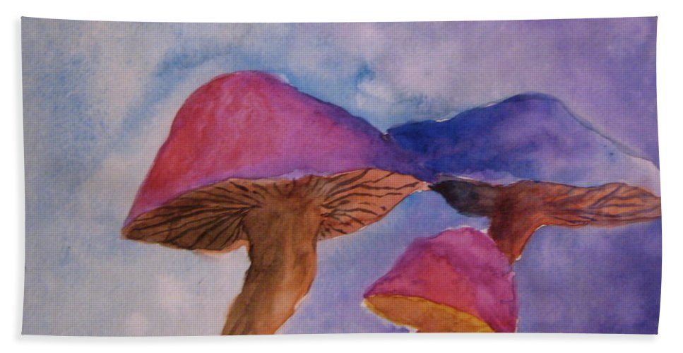 Watercolor Beach Towel featuring the painting Gini's Shrooms by Beverley Harper Tinsley