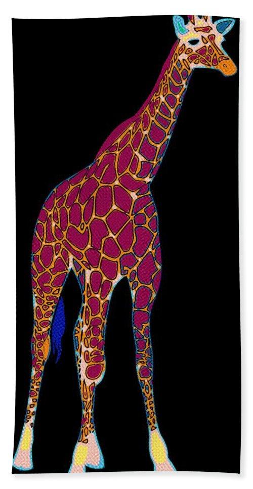 Giraffe Beach Towel featuring the painting Giraffe Pop Art by Florian Rodarte