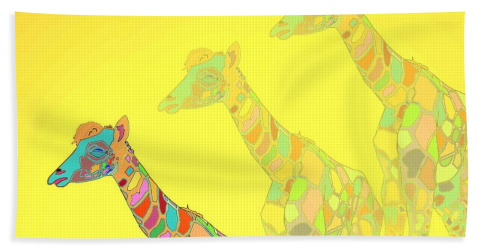 Giraffe Beach Towel featuring the photograph Giraffe X 3 - Yellow - The Card by Joyce Dickens
