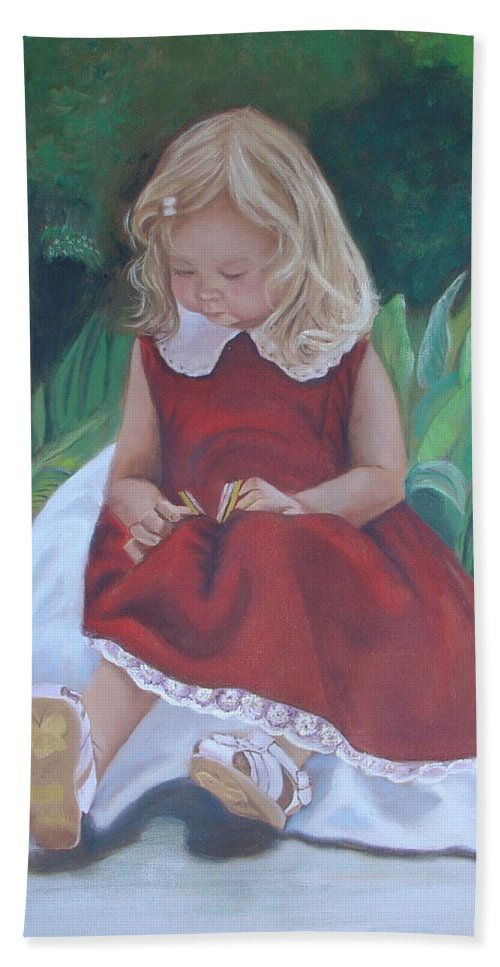 Portrait Beach Towel featuring the painting Girl In The Garden by Sharon Schultz