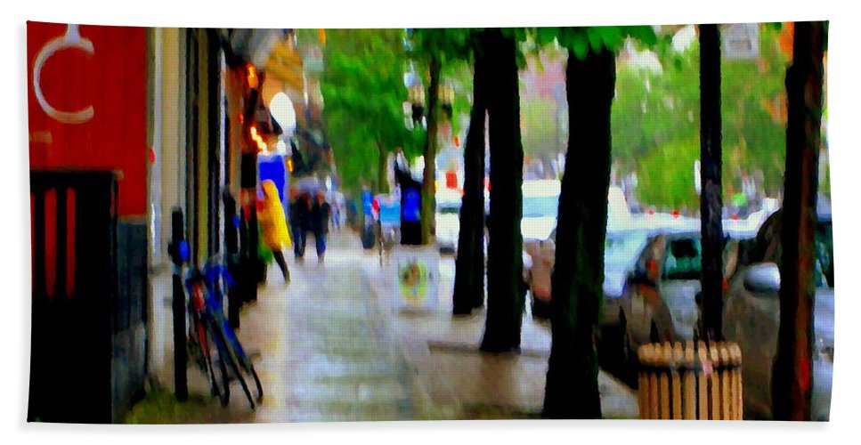 Rain Beach Towel featuring the painting Girl In The Yellow Raincoat Rainy Stroll Through Streets Of The City Montreal Scenes Carole by Carole Spandau