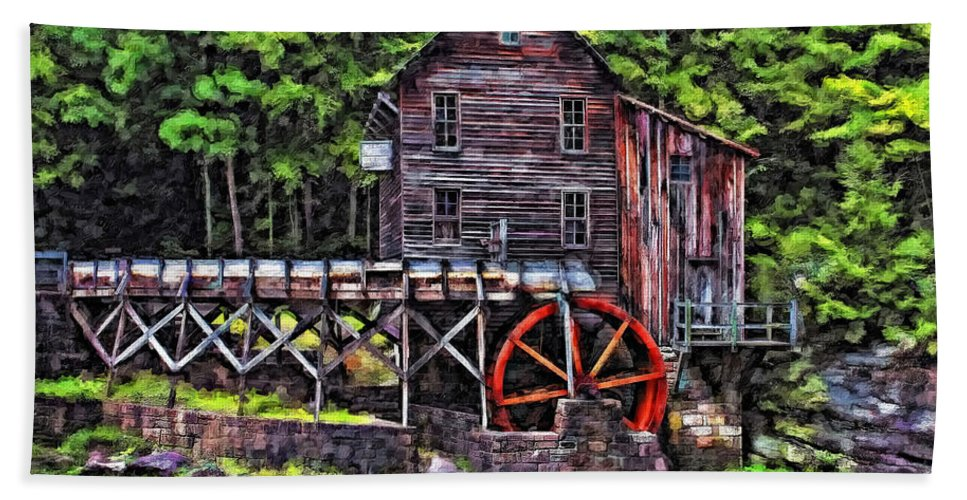 Mill Beach Towel featuring the photograph Glade Creek Grist Mill Painter Version by Steve Harrington
