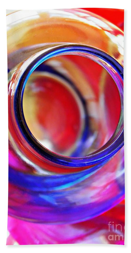 Bottle Beach Towel featuring the photograph Glass Abstract 592 by Sarah Loft